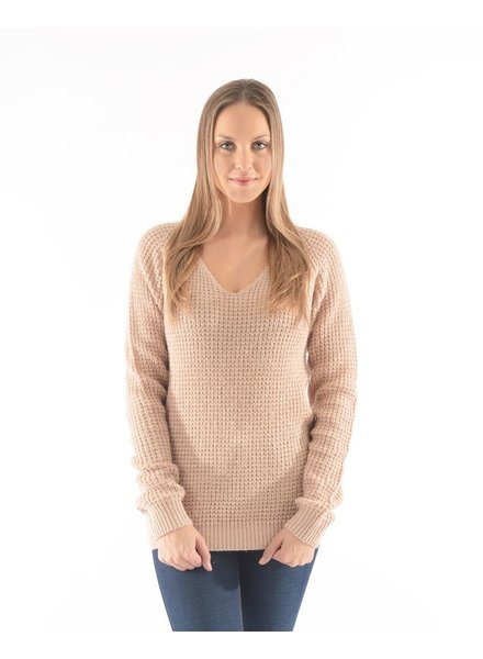 BECXY B. CHANDAIL ALYA V NECK SWEATER VINTAGE/ROSE