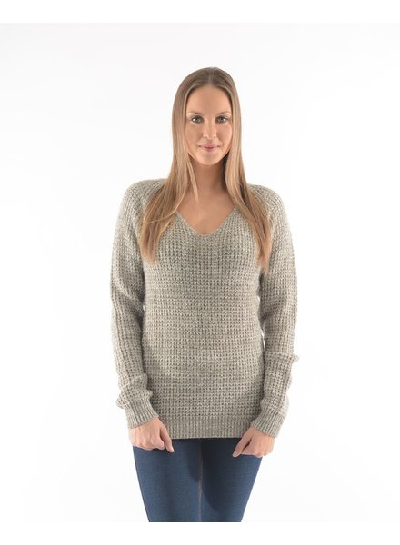 BECXY B. CHANDAIL ALYA V NECK SWEATER GREY MIX/GRIS