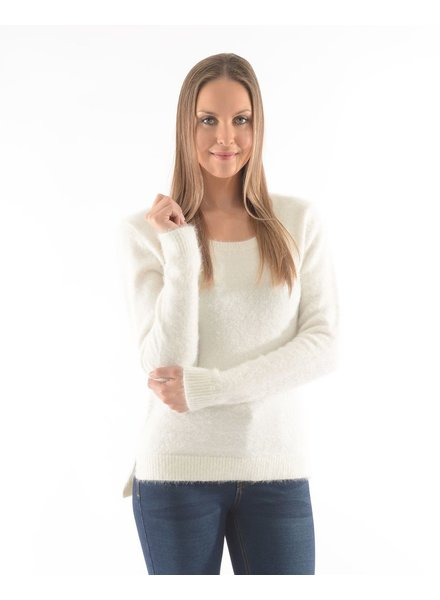 BECXY B. CHANDAIL DALIA CREW NECK HIGH&LOW OFF WHITE/IVOIRE