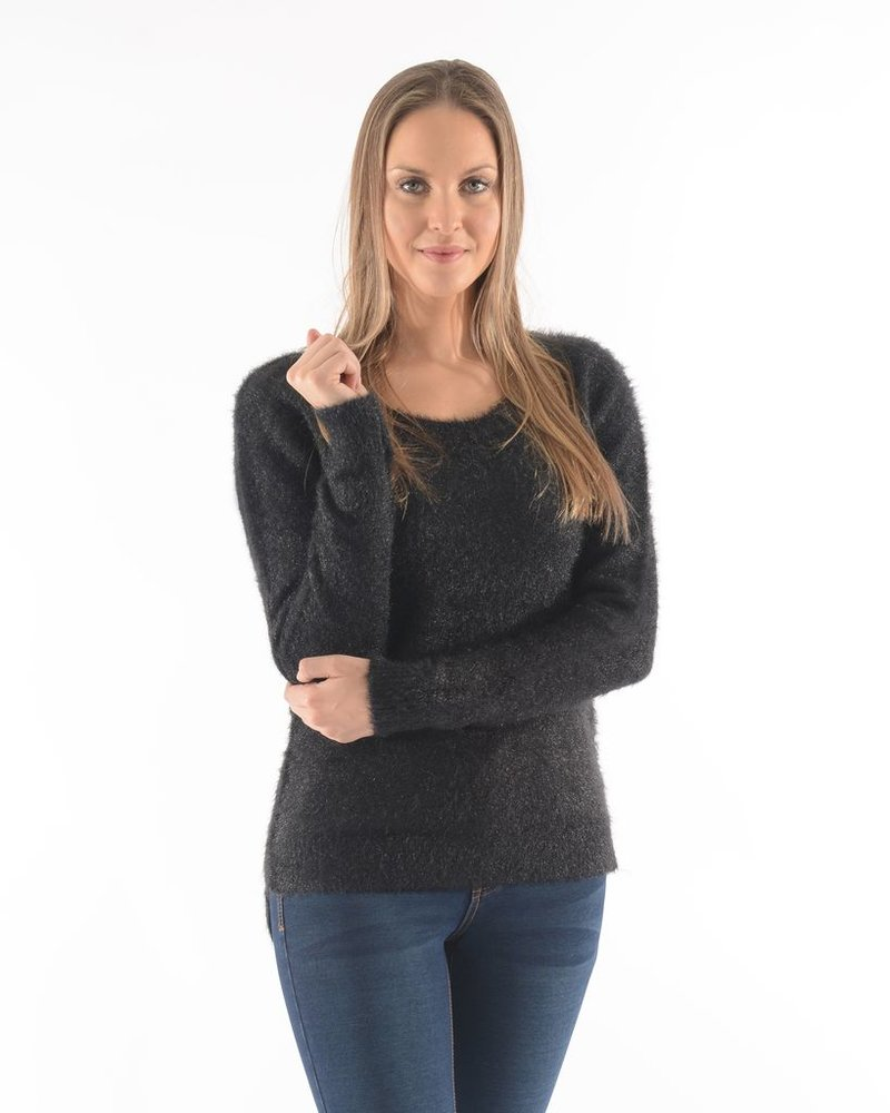 BECXY B. DALIA CREW NECK SWEATER HIGH & LOW BLACK / BLACK
