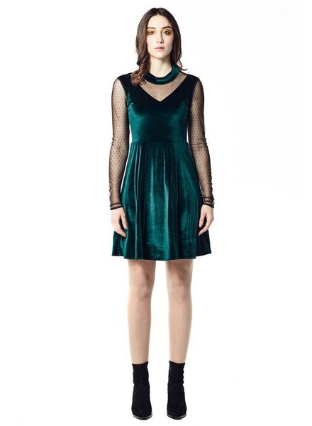 ANNIE 50 ISABELLE DRESS VELVET GREEN