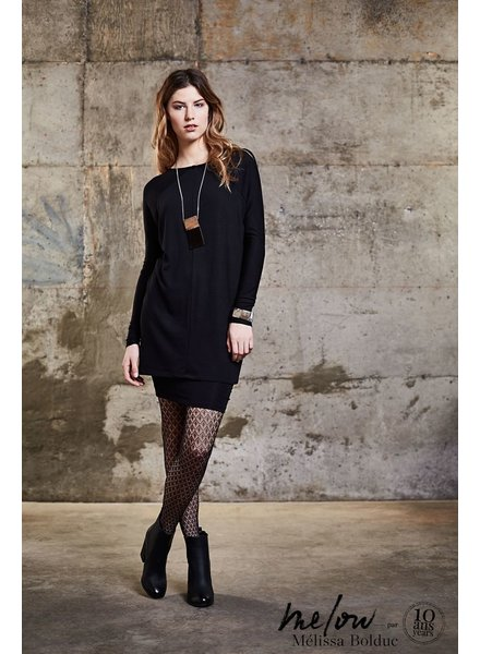 MELOW DESIGN USMAN TUNIC DRESS LINED AND REVERSIBLE / BLACK