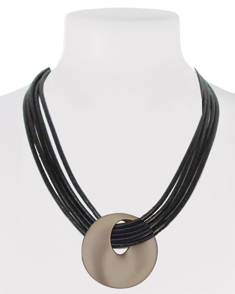 CARACOL COLLAR SHORT LEATHER AND CIRCLE OF METAL COLOR COPPER