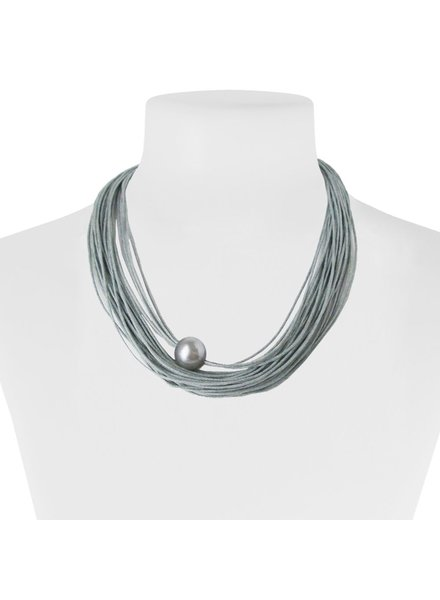 CARACOL NECKLACE MULTIPLE ROPES GRAY AND PEARL
