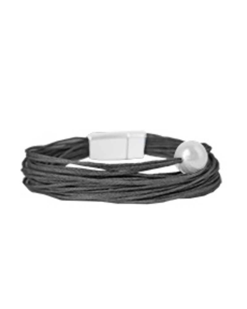 CARACOL BRACELET ROPE BLACK AND PEARL