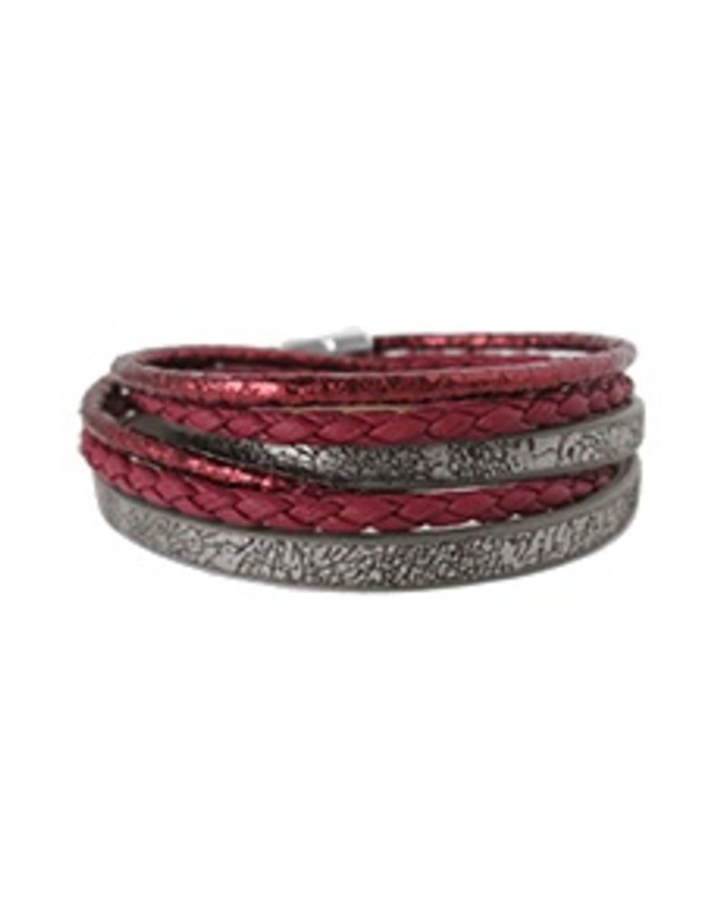 CARACOL BRACELET LEATHER RED