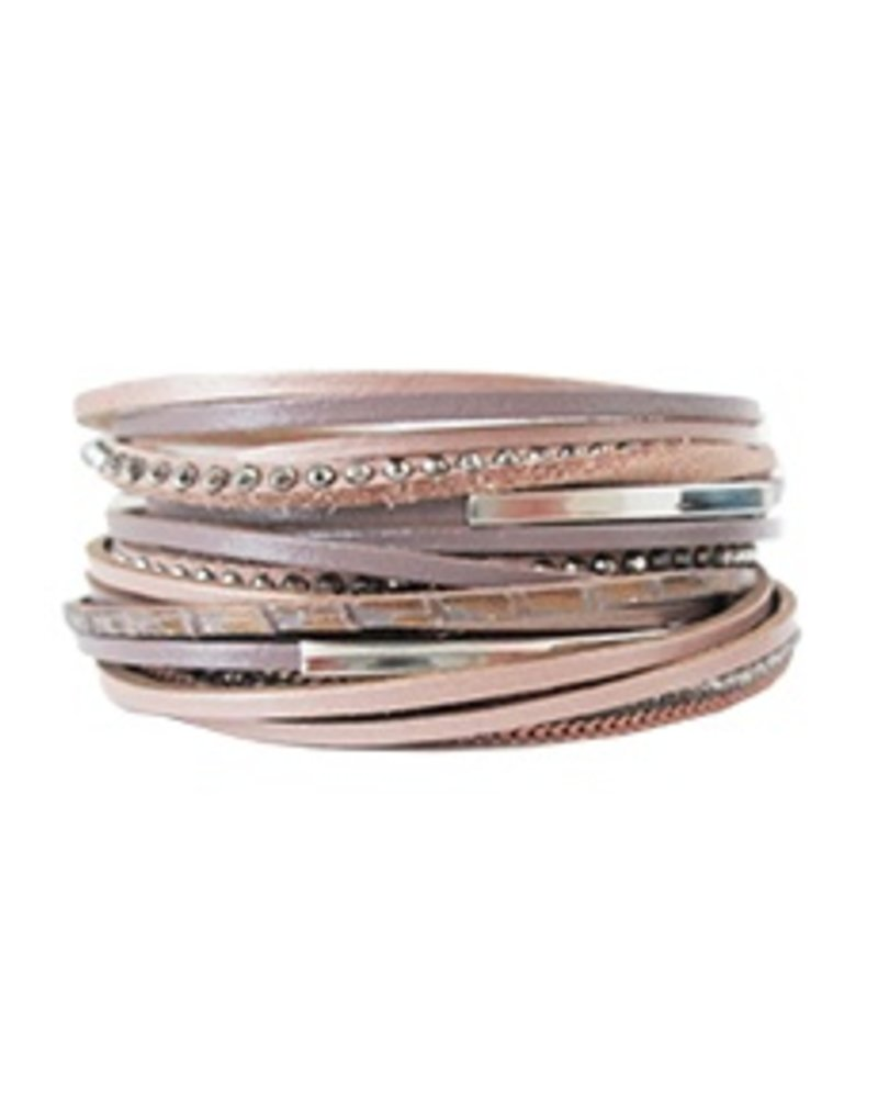 CARACOL BRACELET LEATHER MIX PINK