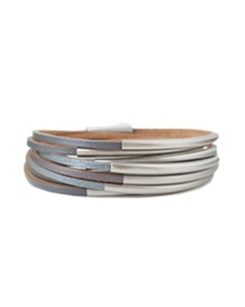 CARACOL BRACELET LEATHER GRAY AND METAL