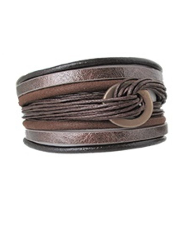 CARACOL BRACELET LEATHER AND ROPE RING BROWN