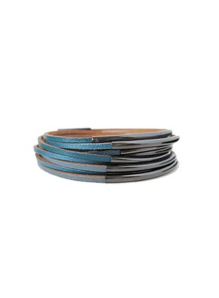 CARACOL BRACELET LEATHER BLUE AND METAL