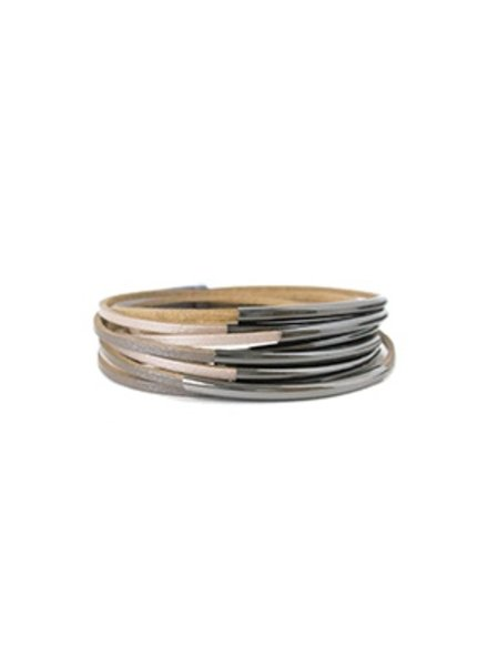 CARACOL TAUPE AND METAL LEATHER BRACELET