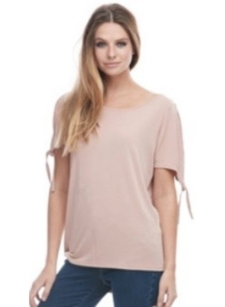FASHION/OVERLOAD TOP TIE SLEEVE TOP PINK