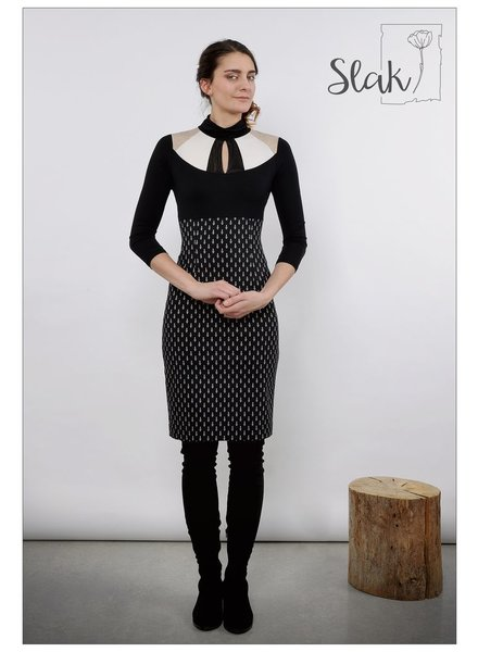 SLAK SLAK DRESS MATKA BLACK / CREAM