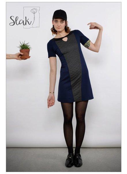 SLAK SLAK DRESS MITRA MARINE / GRAY