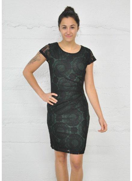 SMASHED LEMON LEMON LACE DRESS BLACK AND GREEN