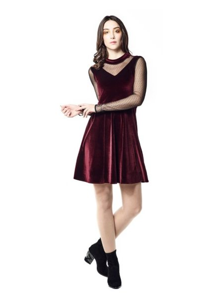 ANNIE 50 ISABELLE DRESS VELVET PRUNE