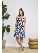 CHERRY BOBIN CHERRY BOBIN ALOHA FLOWER DRESS BLUE