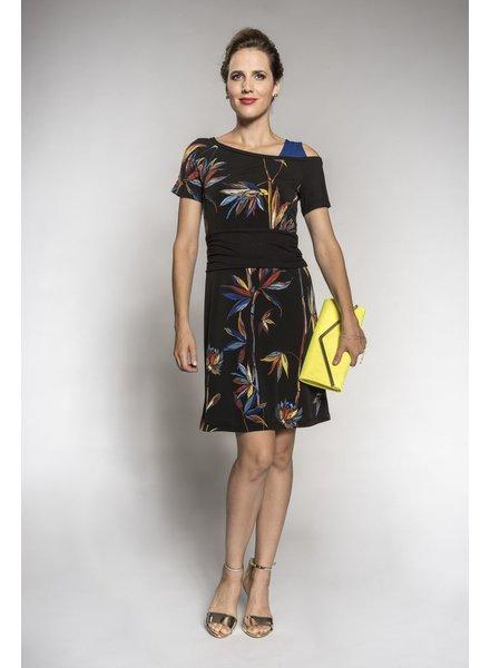 MYCO ANNA MYCO ANNA DRESS CAMELIA BLACK/PRINTS