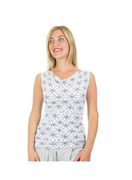 MESSAGE FACTORY MESSAGE FACTORY FLORA TANK FLOWER OF LIFE  WHITE