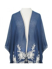CARACOL CARACOL SCARF/PONCHO  EMBROIDERY BLUE