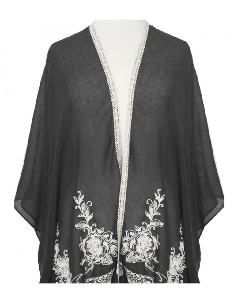 CARACOL CARACOL SCARF/PONCHO  EMBROIDERY BLACK