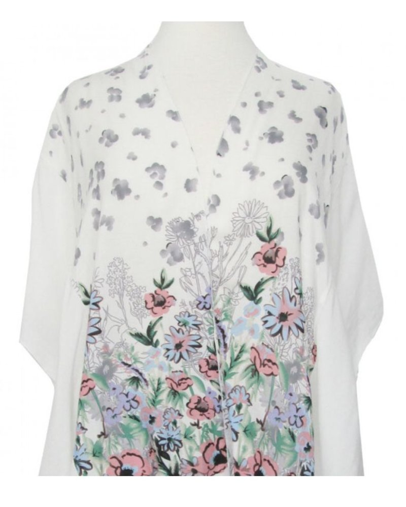 CARACOL CARACOL SCARF/PONCHO  FLOWERS WHITE