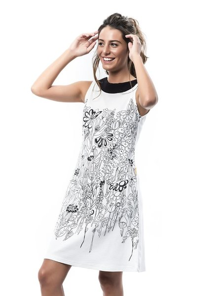 MAMATAYOE MAMATAYOE DRESS LEVANTE WHITE BLACK PRINT