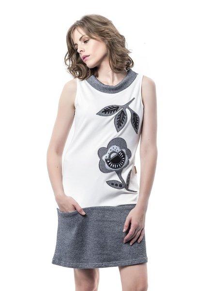 MAMATAYOE MAMATAYOE DRESS PINAZA WHITE/FLOWERS GREY