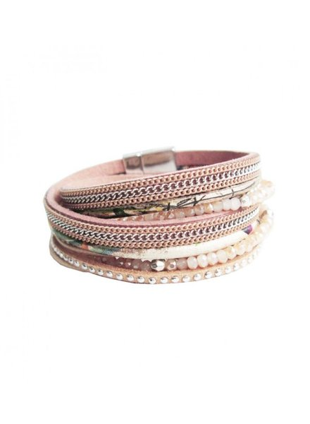 CARACOL CARACOL BRACELET  MANY TEXTURES PINK