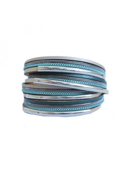 CARACOL CARACOL BRACELET MANY RANKS LEATHER METAL TURQUOISE