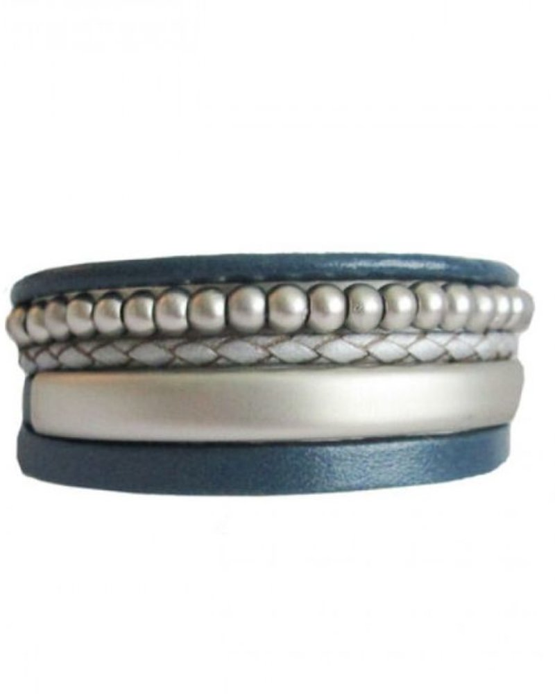 CARACOL CARACOL BRACELET LEATHER AND PEARL BLUE