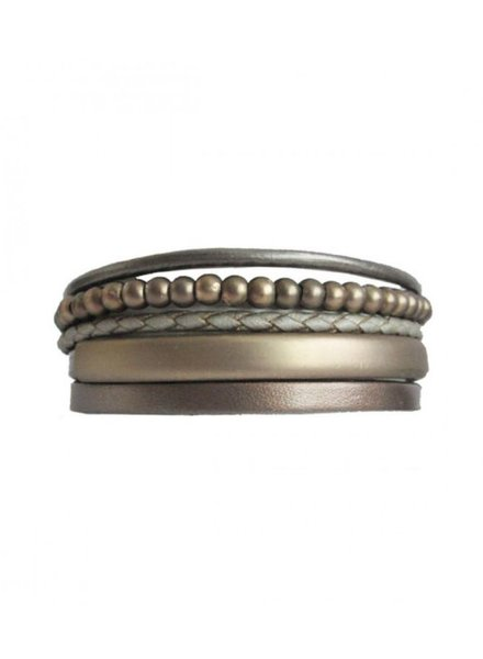 CARACOL CARACOL BRACELET LEATHER AND PEARL BRONZE