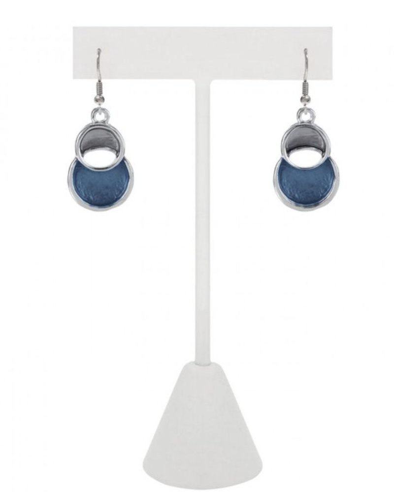 CARACOL CARACOL 2 CIRCLE EARRINGS BLUE
