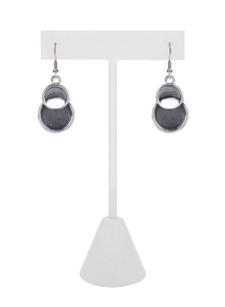 CARACOL CARACOL 2 CIRCLE EARRINGS GREY