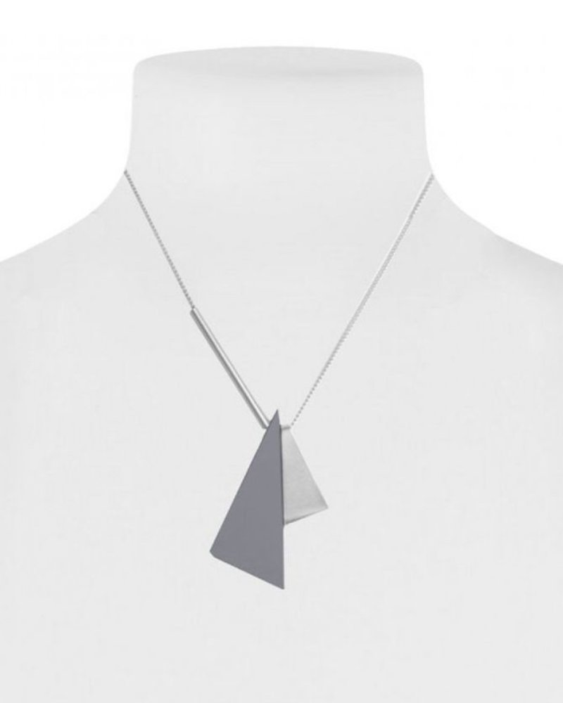 CARACOL CARACOL COLLIER COURT 2 TRIANGLES GRIS