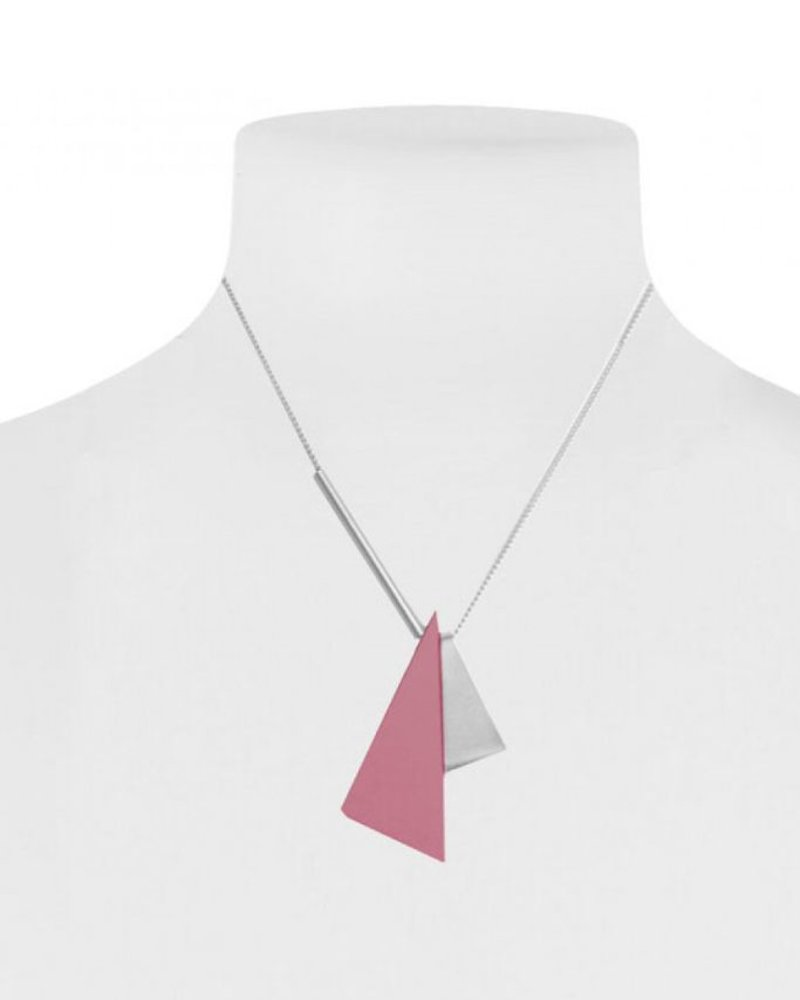 CARACOL CARACOL SHORT NECKLACE 2 TRIANGLES PINK