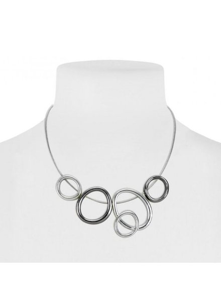 CARACOL CARACOL SHORT NECKLACE RINGS MIX SILVER