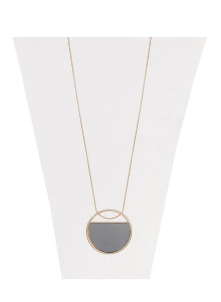 CARACOL CARACOL LONG NECKLACE PENDANT CIRCLE GOLD
