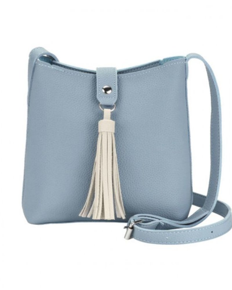 CARACOL CARACOL HAND BAG POMPON BLUE