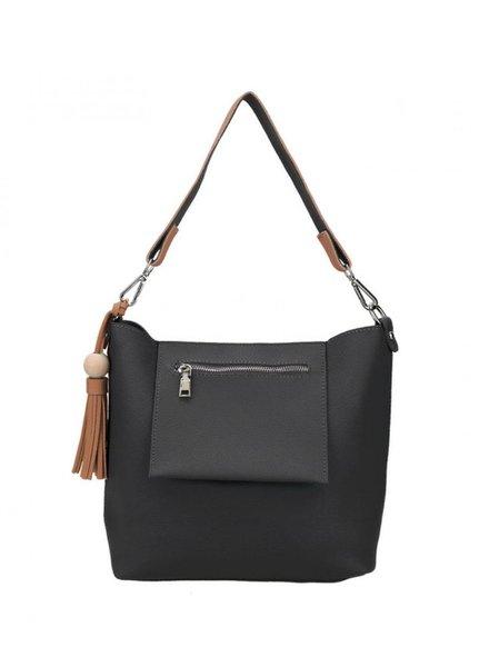 CARACOL CARACOL HAND BAG  EXTERIEUR  POCKET AND POMPON BLACK
