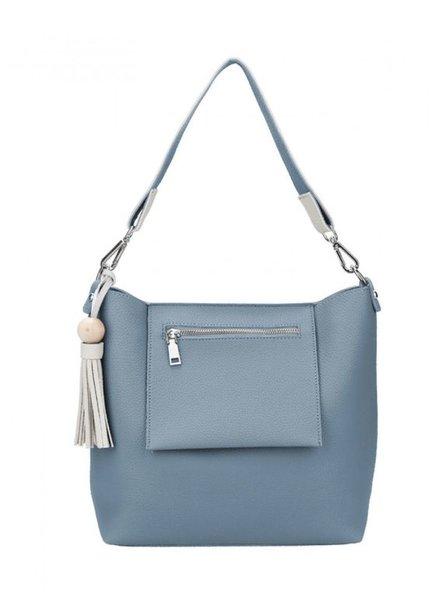 CARACOL CARACOL HAND BAG  EXTERIEUR  POCKET AND POMPON BLUE