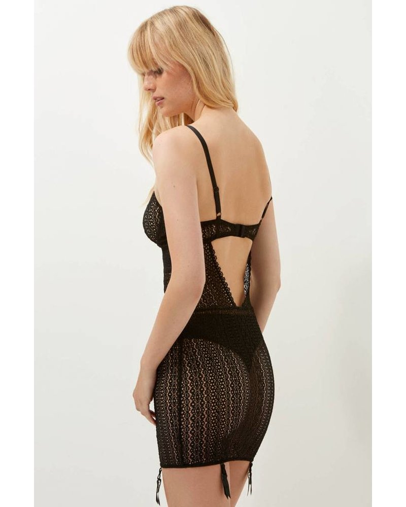 Else Rumi Fitted Underwire Chemise w/Garters