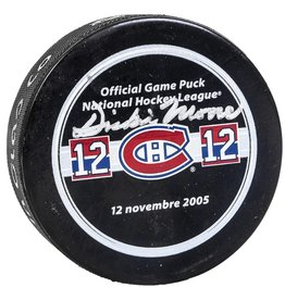 Club Du Hockey PUCK SIGNED BY DICKIE MOORE