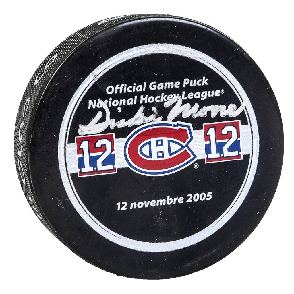 Club Du Hockey PUCK SIGNED BY DICKIE MOORE
