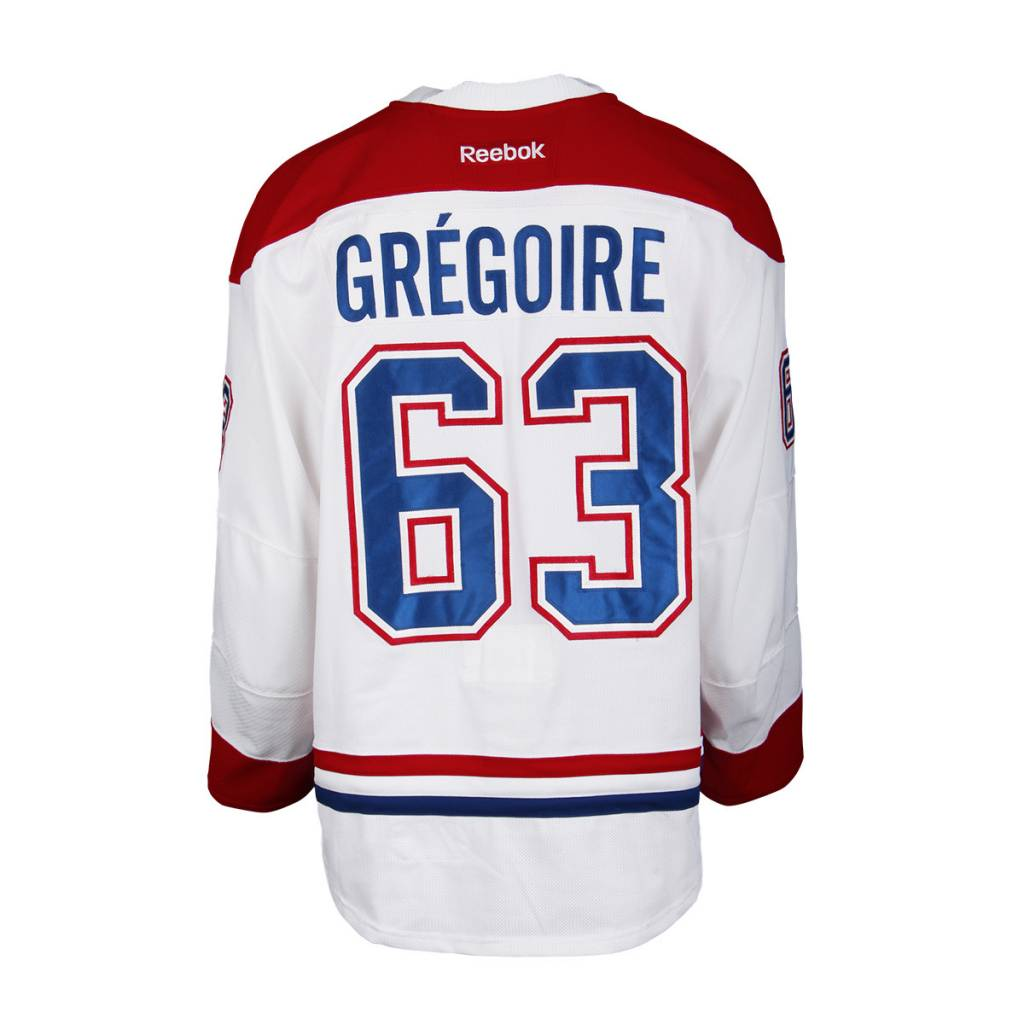 Club De Hockey CHANDAIL PORTÉ 2016-2017 #63 JEREMY GRÉGOIRE SÉRIE 1 À L'ÉTRANGER (MATCH PRÉPARATOIRES)