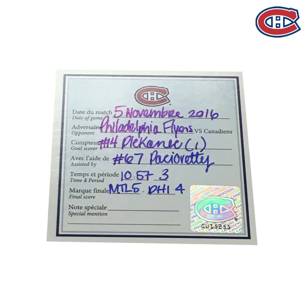 Club De Hockey TOMAS PLEKANEC GOAL PUCK (1) 5-NOV-2016