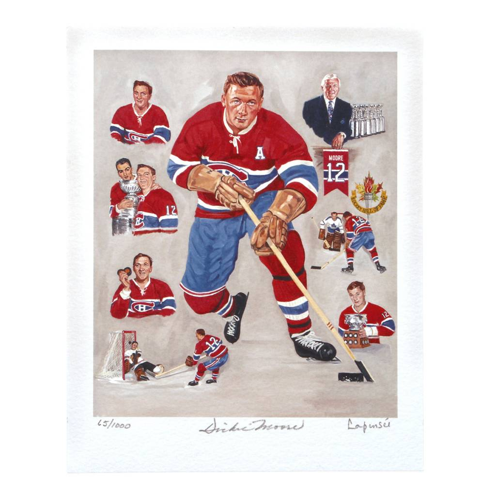Club De Hockey LITHOGRAPHIE LAPENSEE 8x10 SIGNÉE PAR DICKIE MOORE