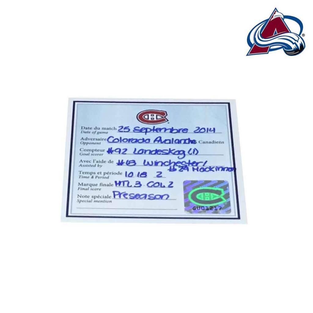 Club De Hockey RONDELLE DE BUT GABRIEL LANDESKOG (1) VS. CANADIENS 25-SEP-2014 (MATCH PRÉPARATOIRE)