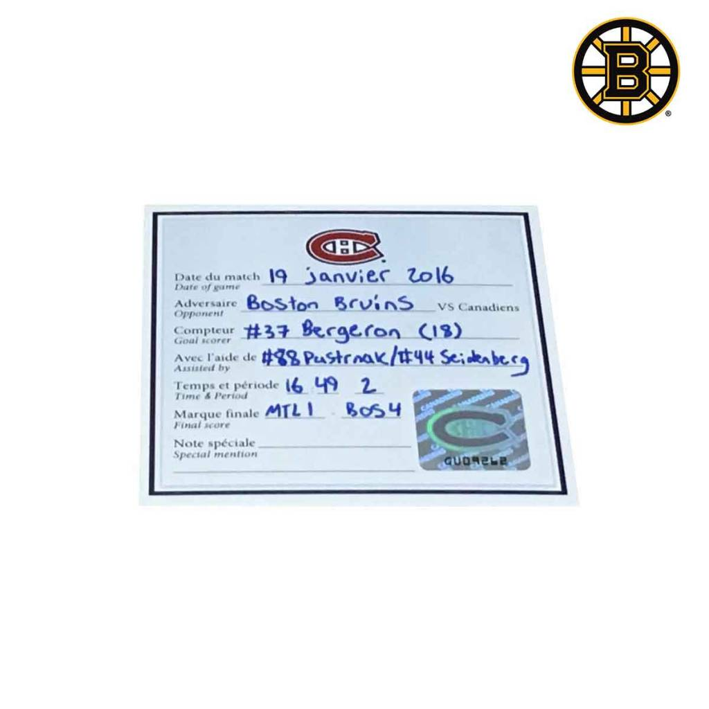 Club De Hockey RONDELLE DE BUT PATRICE BERGERON (18) 19-JAN-2016