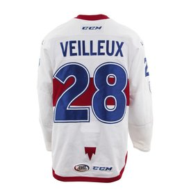 Club De Hockey 2017-2018 #28 YANNICK VEILLEUX WHITE GAME-USED JERSEY (SIGNED)